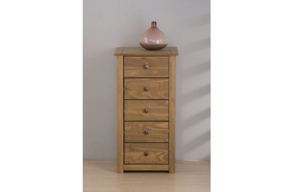 BIRLEA Santiago 5 Drawer Distressed Pine Chest