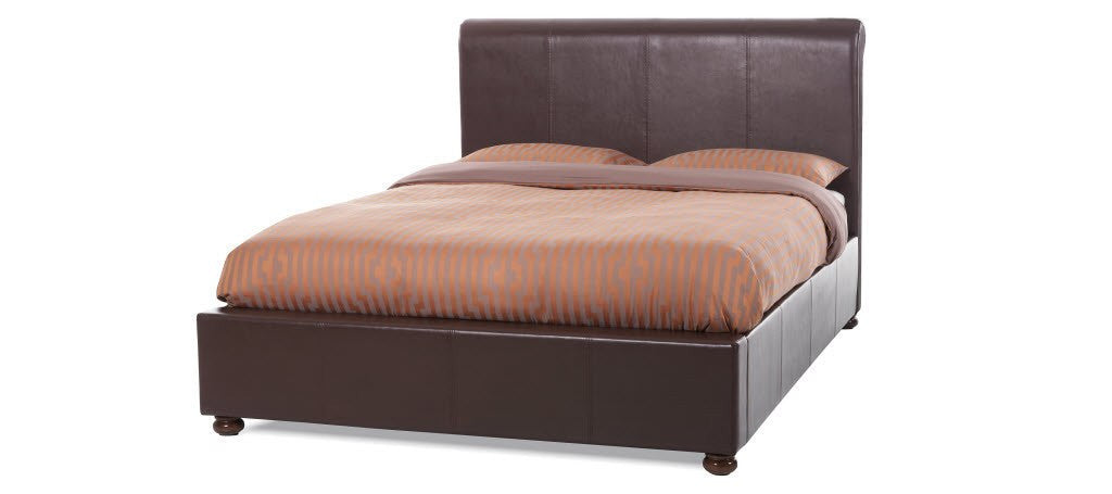 SERENE Siena Brown Faux Leather Bed Frame