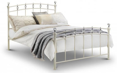 JULIAN BOWEN Sophie Stone White Satin Metal Bed Frame