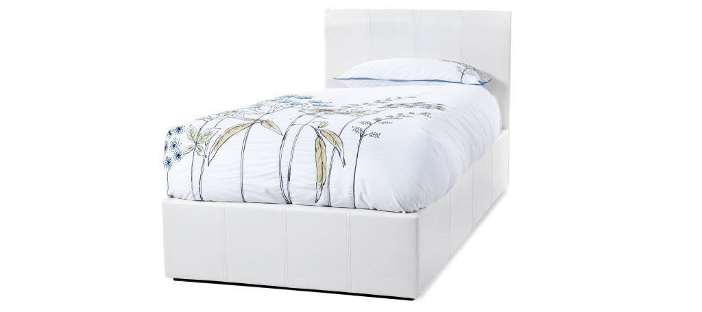 SERENE Tuscany Ottoman White Faux Leather Bed Frame