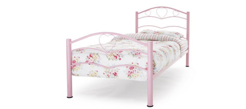 SERENE Yasmin Pink Gloss Metal Bed