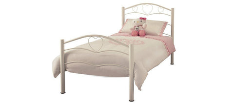 SERENE Yasmin White Gloss Metal Bed