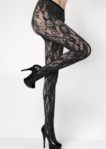 Fishnet Floral Pantyhose - River Rose