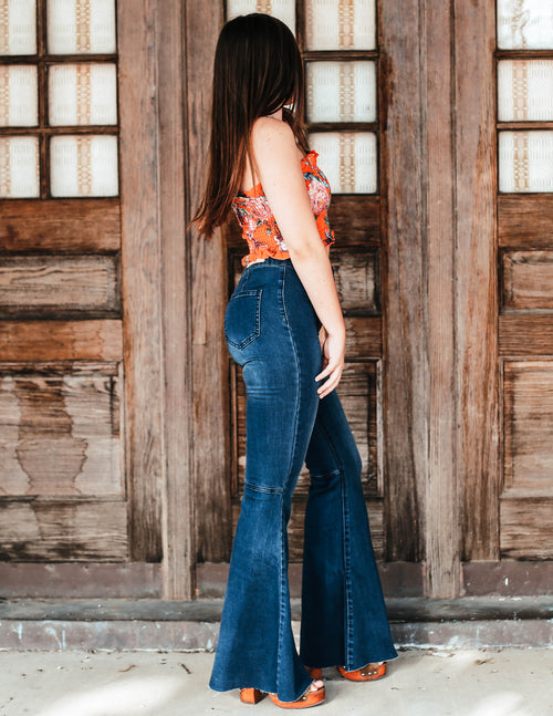 Super Flared Bell Bottoms - River Rose