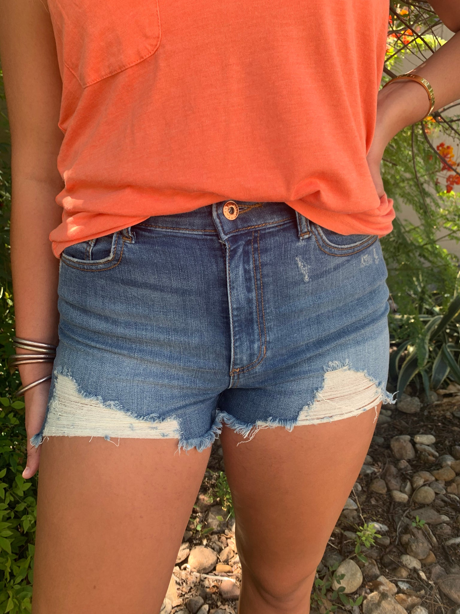 Destructed High Rise Shorts