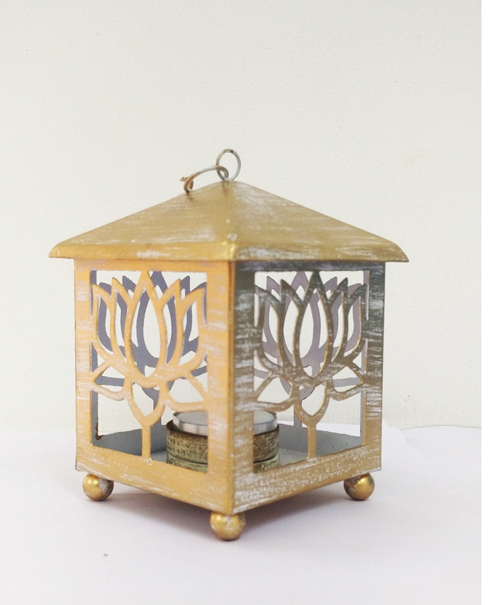 Lotus Candle Lantern - White and Gold - Dhoop