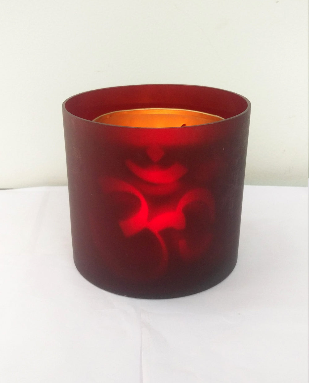 Flickering Votive Candle Om - Red - Dhoop