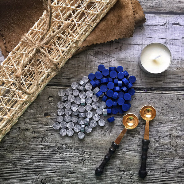 Wax Beads - Blue & Silver