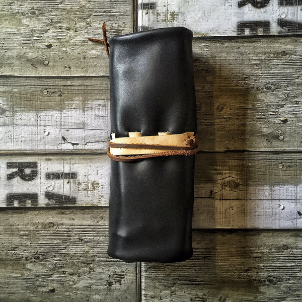 Leather Pen Roll with Flaps - 12 slots
