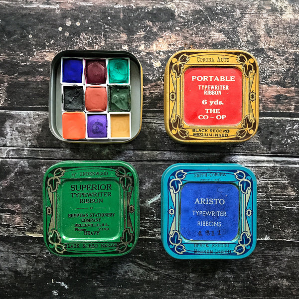 Handmade Watercolors Vintage Tin set 1