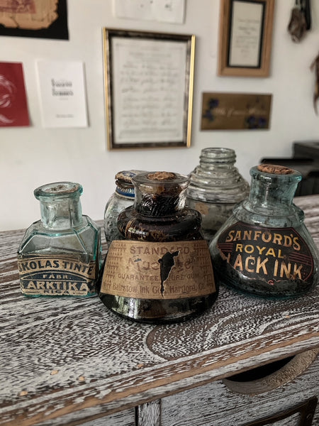 Lot of 5 Vintage Ink Bottles