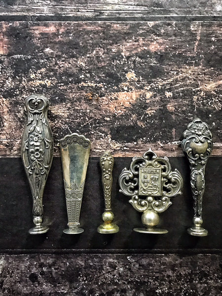 Antique Art Nouveau Silver Wax Seals, 19th century