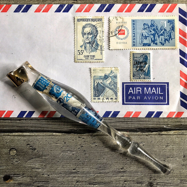No.035 - Blue Postage Stamps Holder