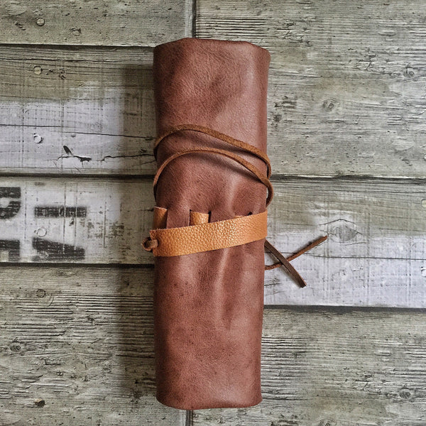Leather Pen Roll with Flaps - 6 slots