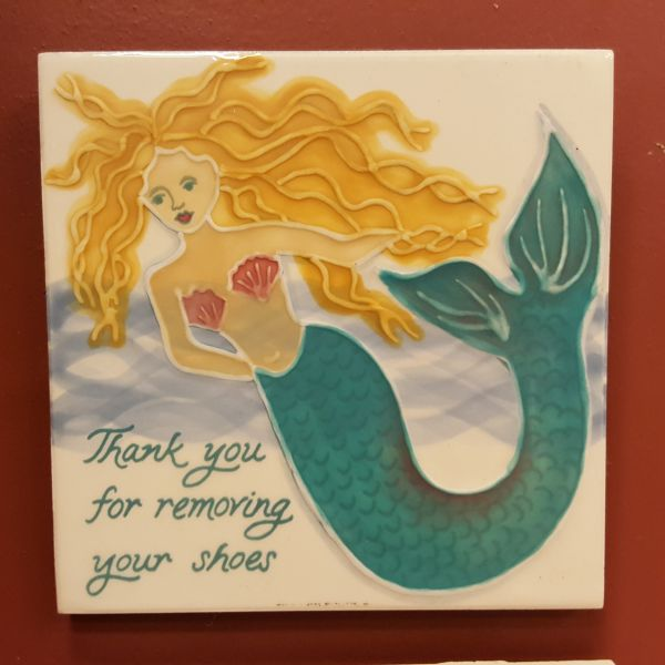 Ceramic Tiles - Thank You For Removing Your Shoes - Mermaid, by Banana Patch Studios