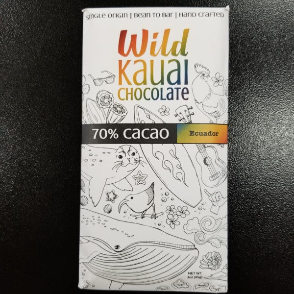 Chocolate Bar - 70% Organic Cacao, by Wild Kauai Chocolate