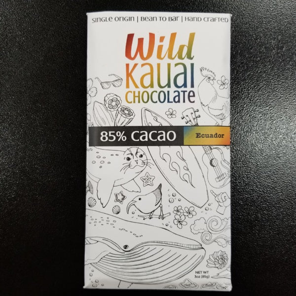 Chocolate Bar - 85% Organic Cacao, by Wild Kauai Chocolate