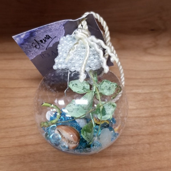 Christmas Ornament - Seashell and Glass Beads Globe, by It's A Shore Thing Kauai