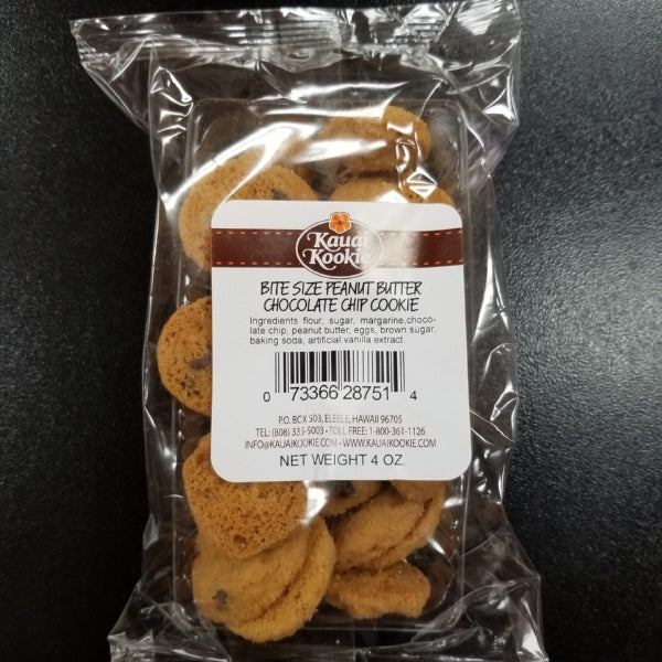 Bite-Size Cookies - Peanut Butter Chocolate Chip Macadamia Nut - 4 oz bag, by Kauai Kookie