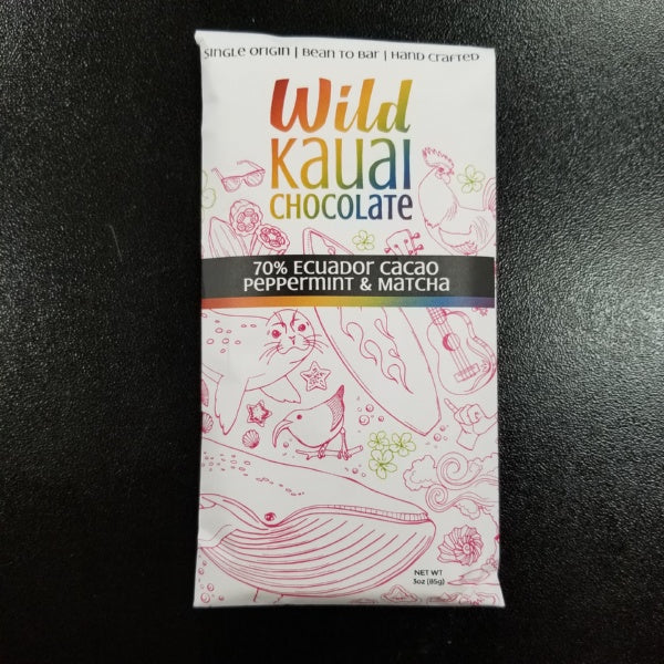 Chocolate Bar - 70% Organic Cacao - Peppermint and Matcha, by Wild Kauai Chocolate