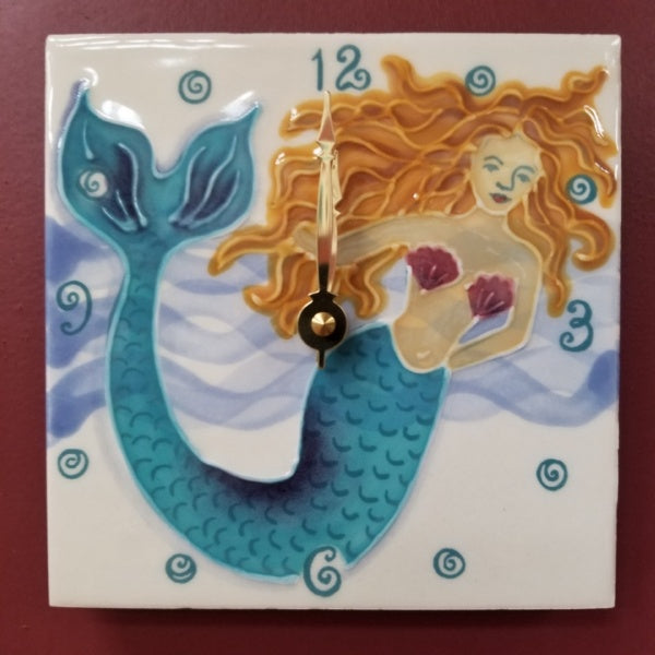Mermaid Clock - 6 X 6 Inch, by Banana Patch Studios