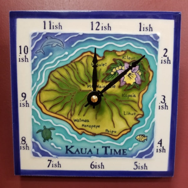 Kauai Island Time-ish Clock - 6 X 6 Inch, by Banana Patch Studios