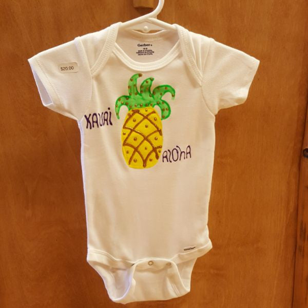 Hand Painted Onesie - Pineapple, by Mary Felcher