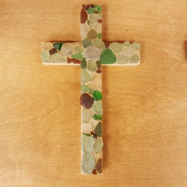 Beach Glass Crosses, by Mary Felcher