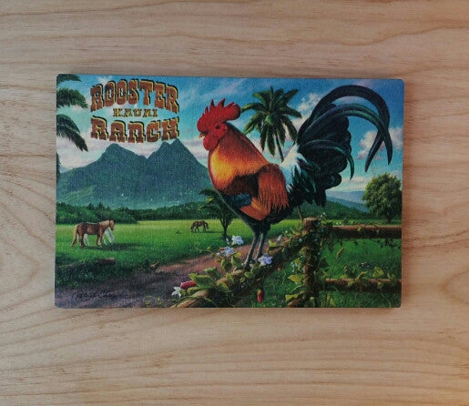 Wooden Kauai Postcard - Rooster Ranch, by Hawaiian Woody's , Home - Hawaiian Woody's, The Kauai Store