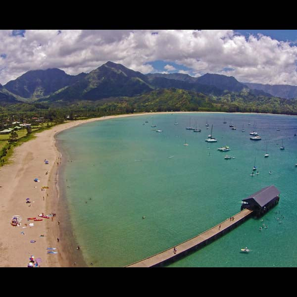 Art Print 8 X 10 - Hanalei Pier and Bay, by TKS