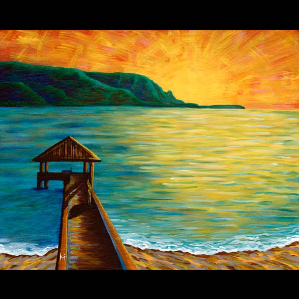 Hanalei Dreaming - Matted Laser Print, by Moses Hamilton