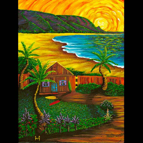 Hanalei Surfshack - Matted Laser Print, by Moses Hamilton