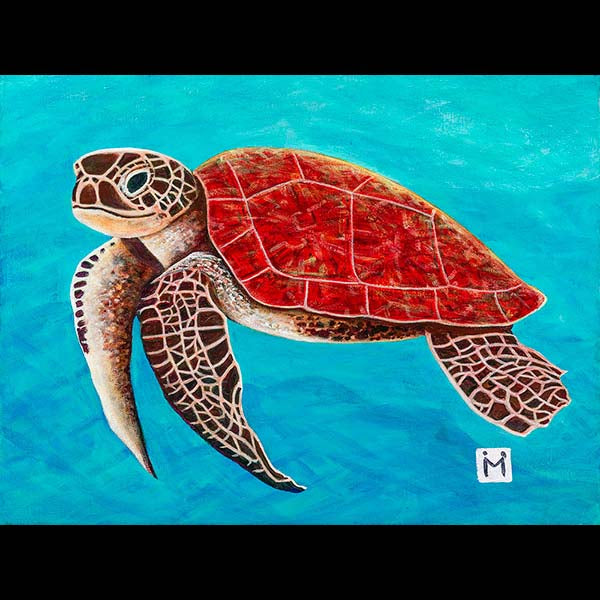 Happy Honu - Matted Laser Print, by Moses Hamilton