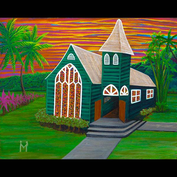 Waioli Church Hanalei - Matted Laser Print, by Moses Hamilton