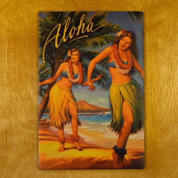 Wooden Kauai Postcard - Aloha Dancers, by Hawaiian Woody's , Home - Hawaiian Woody's, The Kauai Store