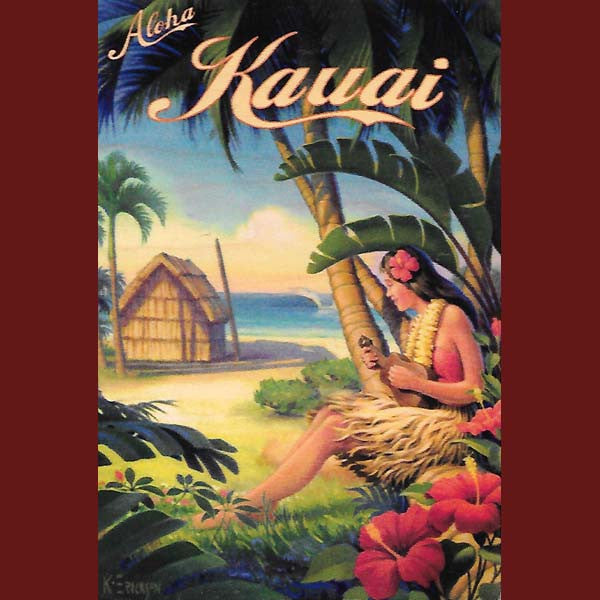 Wooden Kauai Postcard - Grass Hut and Ukulele Girl, by Hawaiian Woody's , Home - Hawaiian Woody's, The Kauai Store  - 1
