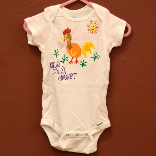 Hand Painted Onesie - Chick Magnet, by Mary Felcher , Baby - Mary Felcher, The Kauai Store