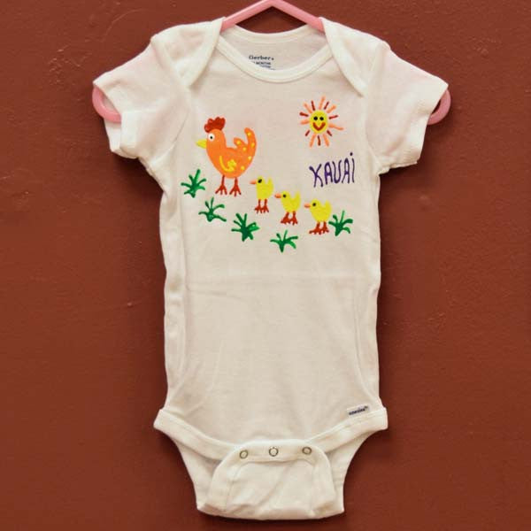 Hand Painted Onesie - Chickens, by Mary Felcher , Baby - Mary Felcher, The Kauai Store