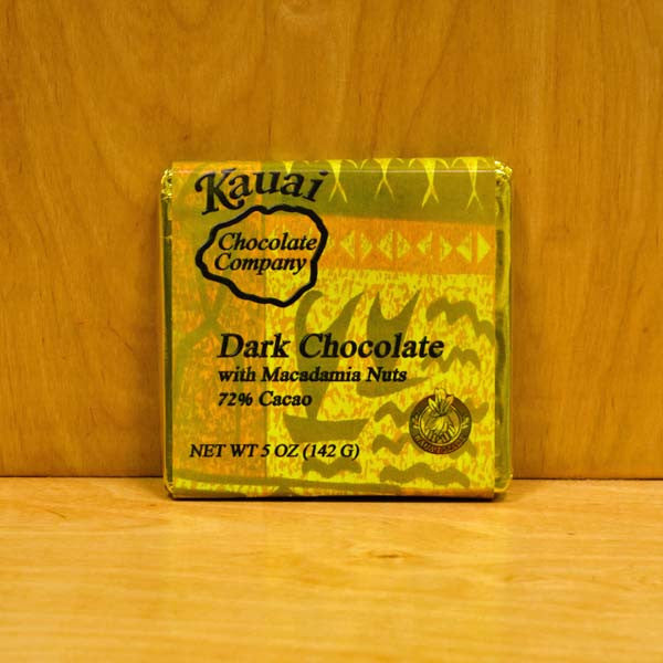 Chocolate Bar - 72% Dark Chocolate with Macadamia Nuts, by Kauai Chocolate Company , Chocolate - Kauai Chocolate Company, The Kauai Store
