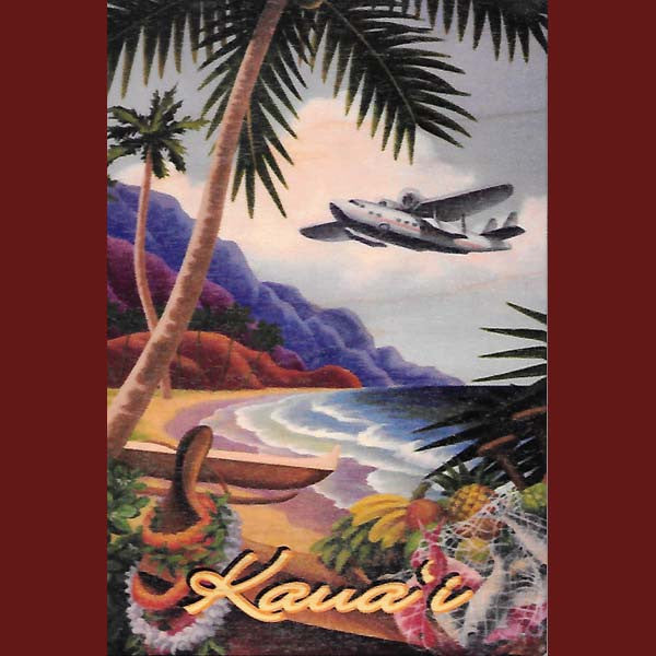 Wooden Kauai Postcard - Flying to Kauai, by Hawaiian Woody's , Home - Hawaiian Woody's, The Kauai Store  - 1