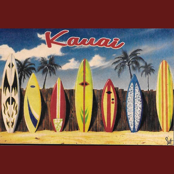 Wooden Kauai Postcard - The Lineup, by Hawaiian Woody's , Home - Hawaiian Woody's, The Kauai Store  - 1
