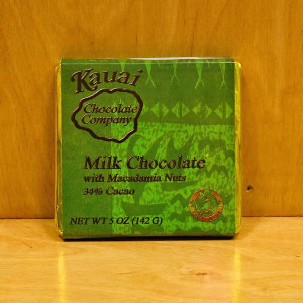 Chocolate Bar - 34% Cacao Milk Chocolate with Macadamia Nuts, by Kauai Chocolate Company , Chocolate - Kauai Chocolate Company, The Kauai Store