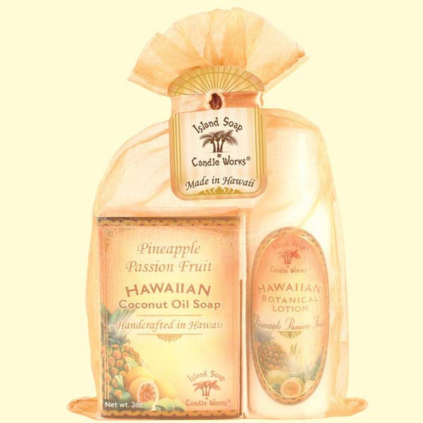 Organza Gift Bag - Pineapple Passion Fruit and Lotion, 2 oz. by Island Soap & Candle Works , Beauty - Island Soap & Candle Works, The Kauai Store