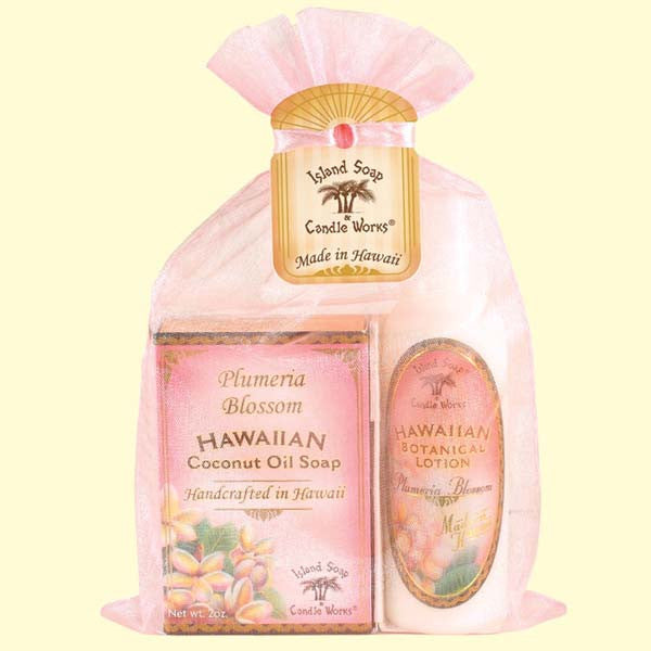 Organza Gift Bag - Plumeria Blossom Soap and Lotion, 2 oz. by Island Soap & Candle Works , Beauty - Island Soap & Candle Works, The Kauai Store