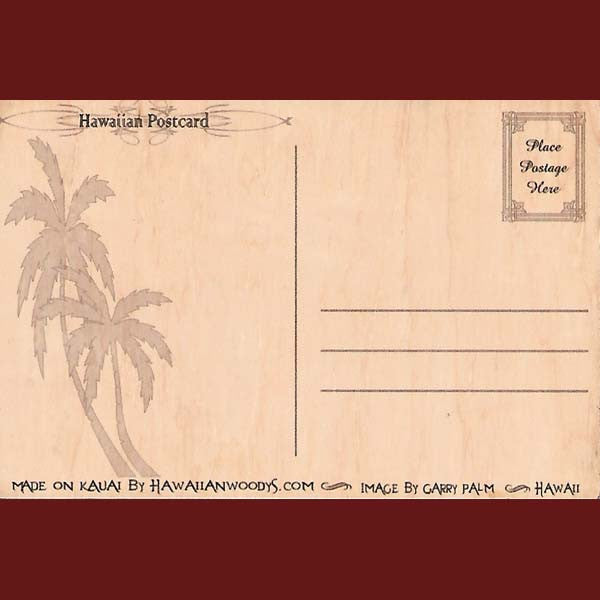 Wooden Kauai Postcard - Plumeria, by Hawaiian Woody's , Home - Hawaiian Woody's, The Kauai Store  - 2
