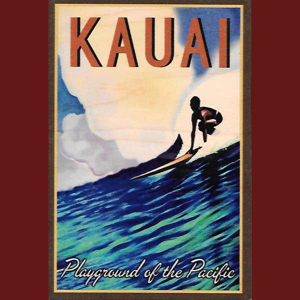 Wooden Kauai Postcard - Playground Of The Pacific, by Hawaiian Woody's , Home - Hawaiian Woody's, The Kauai Store  - 1