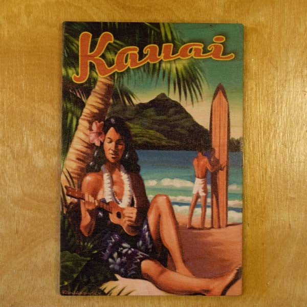 Wooden Kauai Postcard - Ukulele Girl, by Hawaiian Woody's , Home - Hawaiian Woody's, The Kauai Store