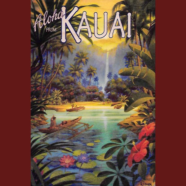 Wooden Kauai Postcard - Kauai Waterfall, by Hawaiian Woody's , Home - Hawaiian Woody's, The Kauai Store  - 1