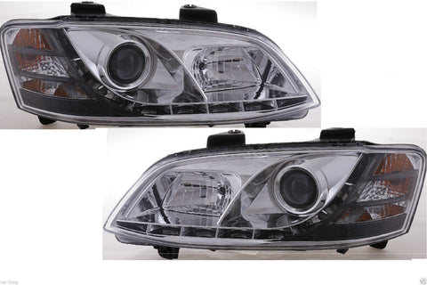 Holden Commodore VE (series 1) DRL LED projector headlights CHROME