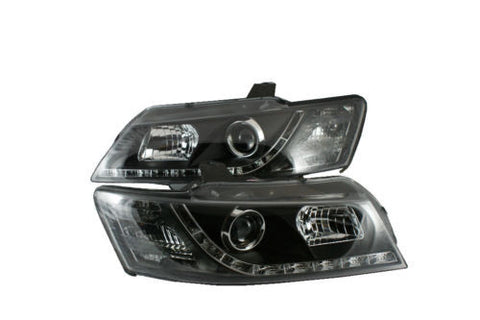 Holden Commodore VZ DRL LED projector headlights BLACK